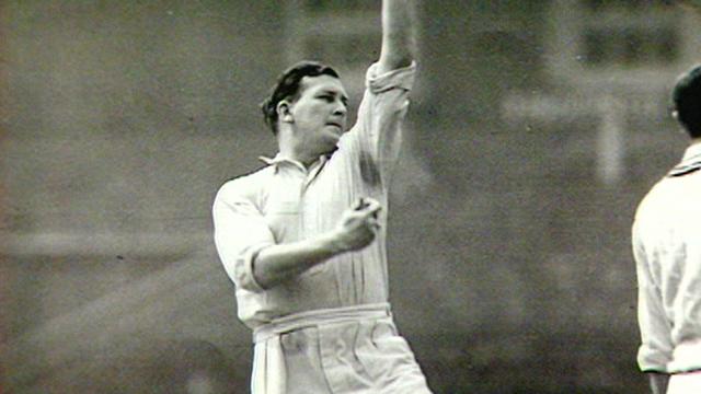 Jim Laker in action for England against Australia