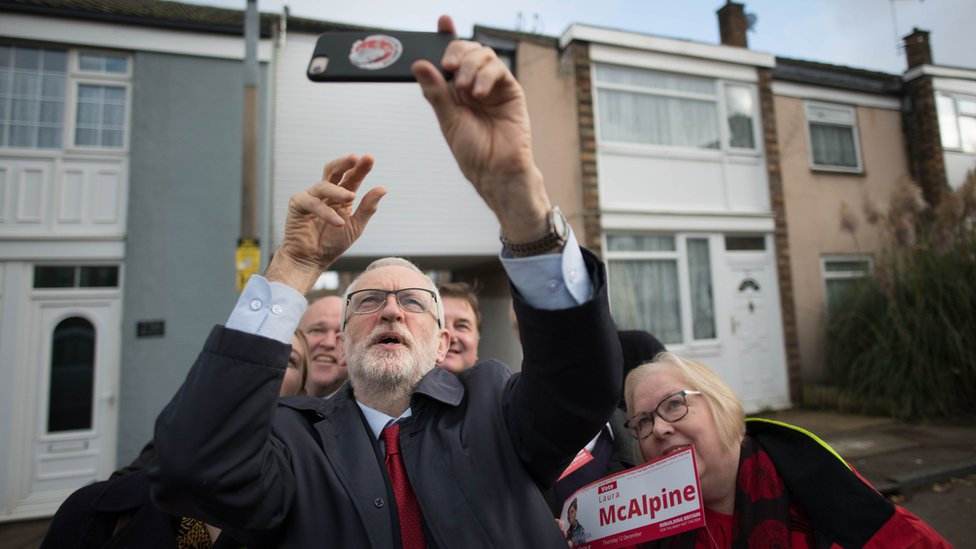 Labour leader Jeremy Corbyn campaigning in Harlow, Essex (5 Nov)