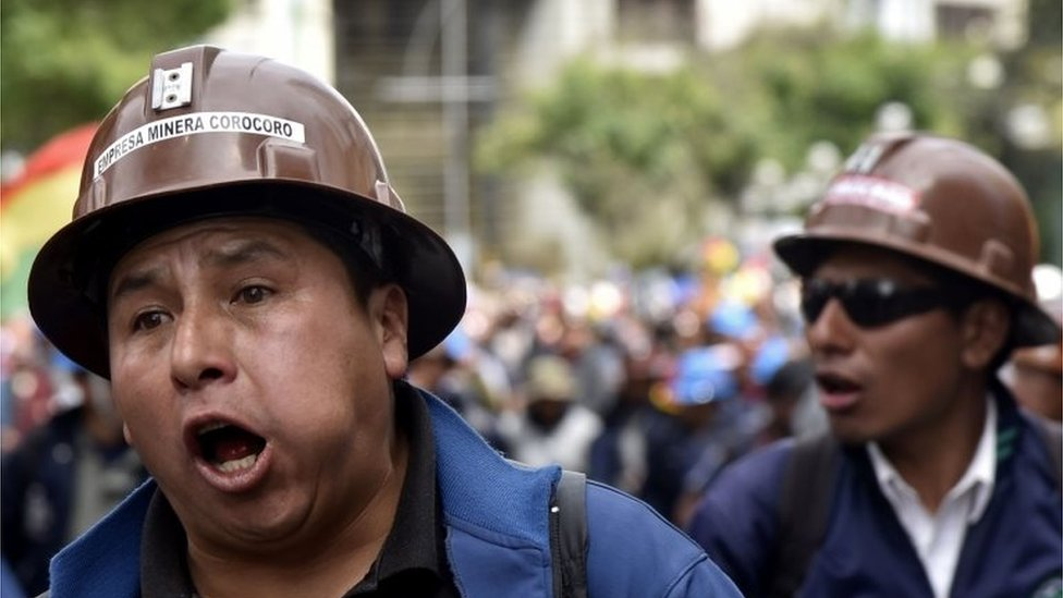 Miners march in support of Bolivian President Evo Morales and demand that election results which gave him as winner are respected by the opposition, in La Paz, on October 29, 2019.