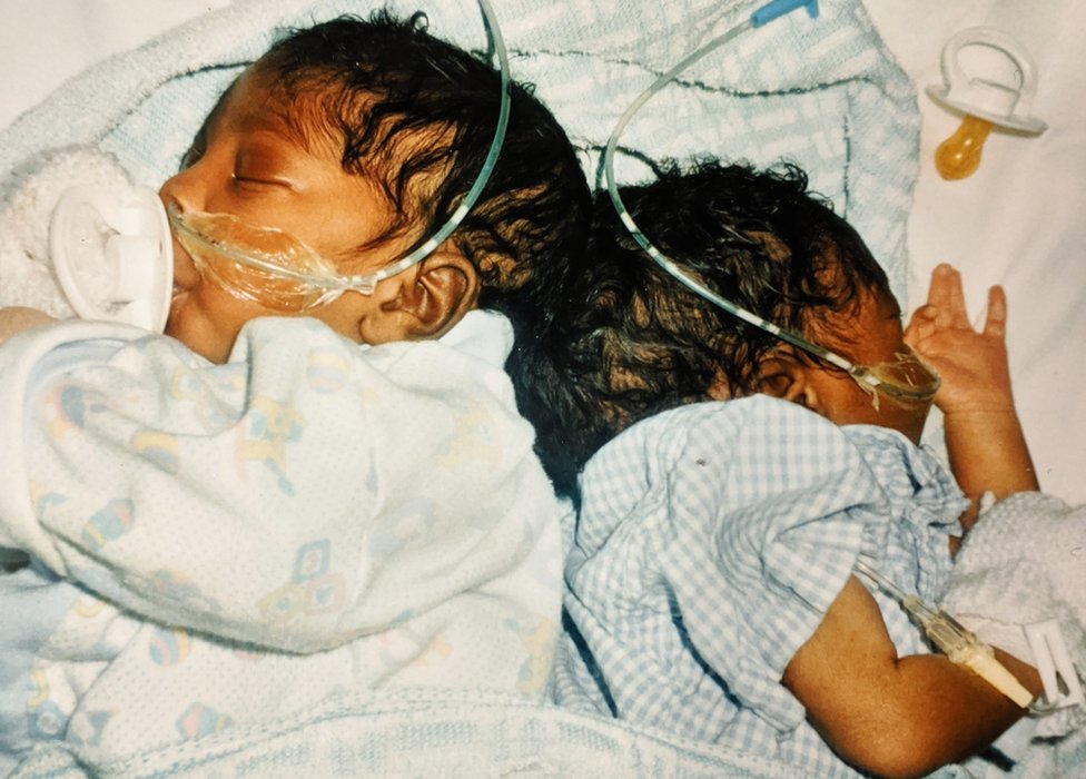 Sanchia and Eman shortly after they were born