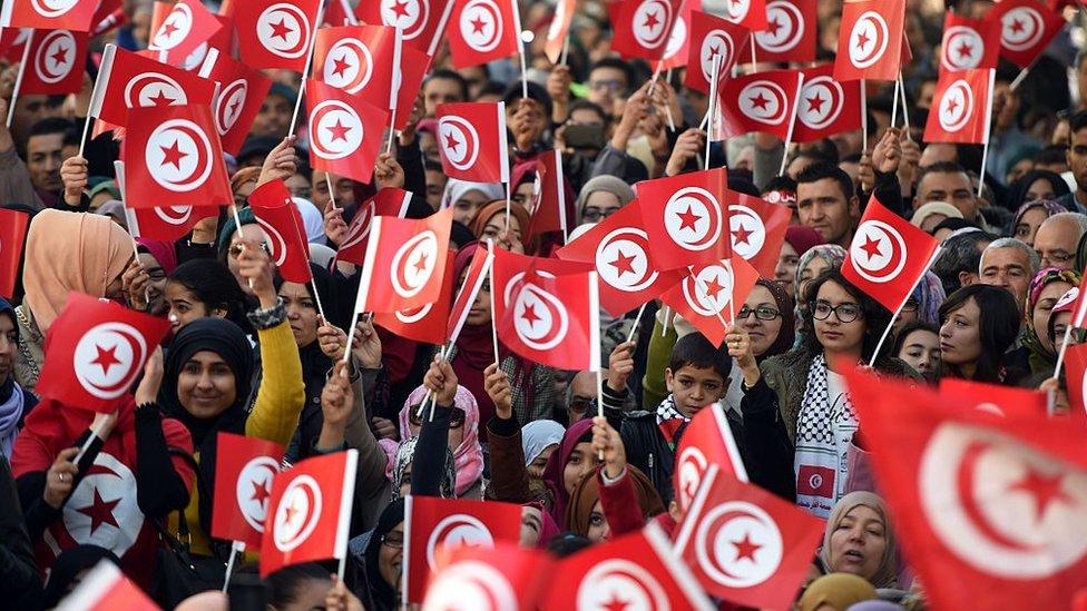 متظاهرون يحملون العلم التونسي