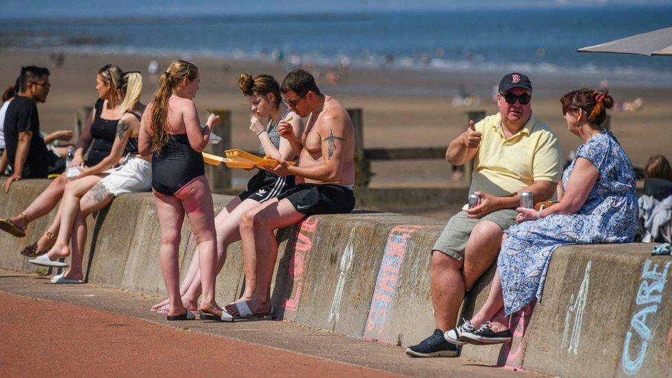 People at the beach in Edinburgh