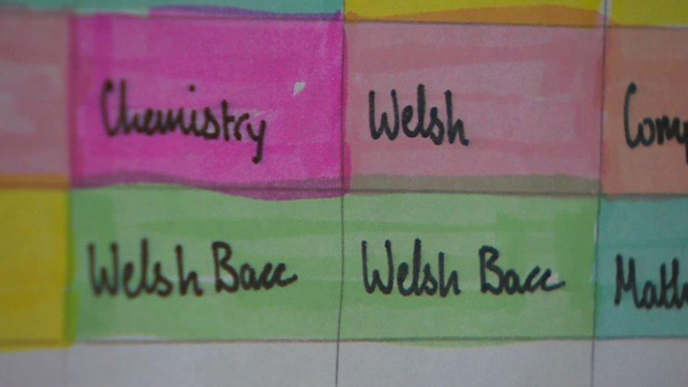 Welsh Bacc timetable on wall