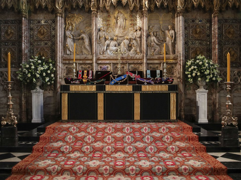 The Duke of Edinburgh's Insignia's placed on the altar in St George's Chapel, Windsor, ahead of his funeral.