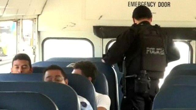 Policeman on the bus