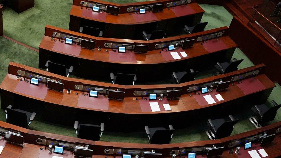 民主派議員早前發起總辭,周三並沒有出席立法會。