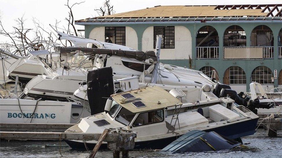 Destruction in Road Town, Tortola, British Virgin Islands