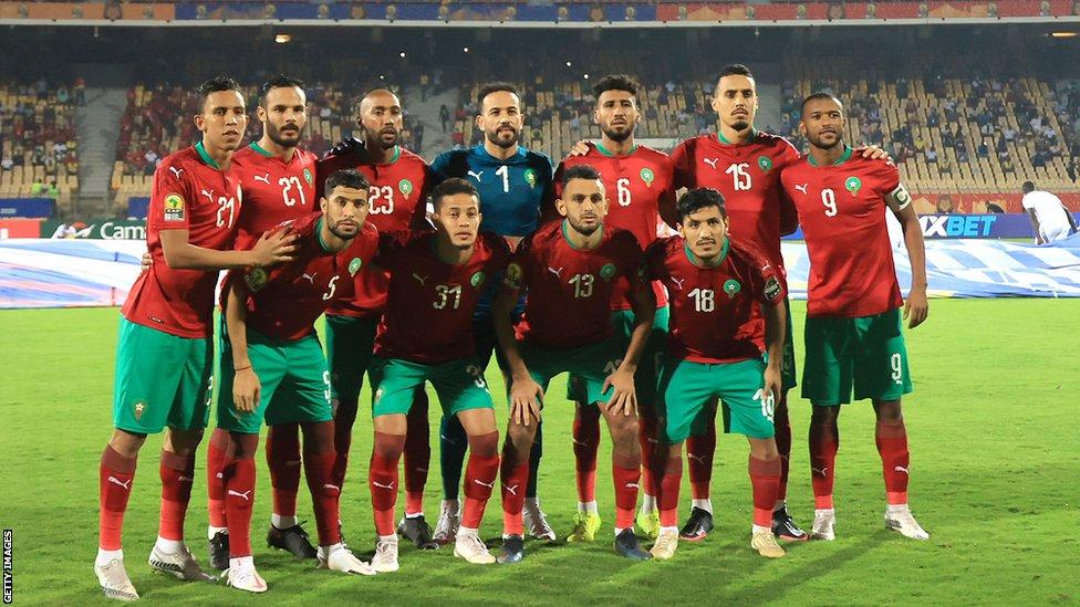 المنتخب المغربي قبيل انطلاق المباراة