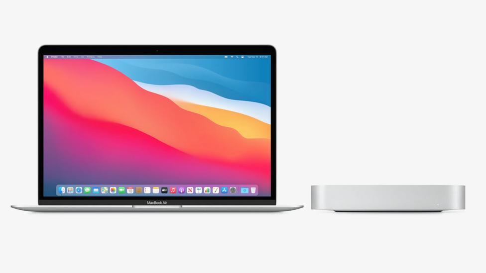 Macbook Air (left) Mac mini