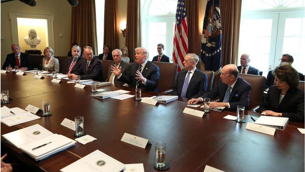 Trump y su gabinete en 2017