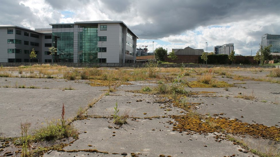 Vacant land next to partial redevelopment in Glasgow