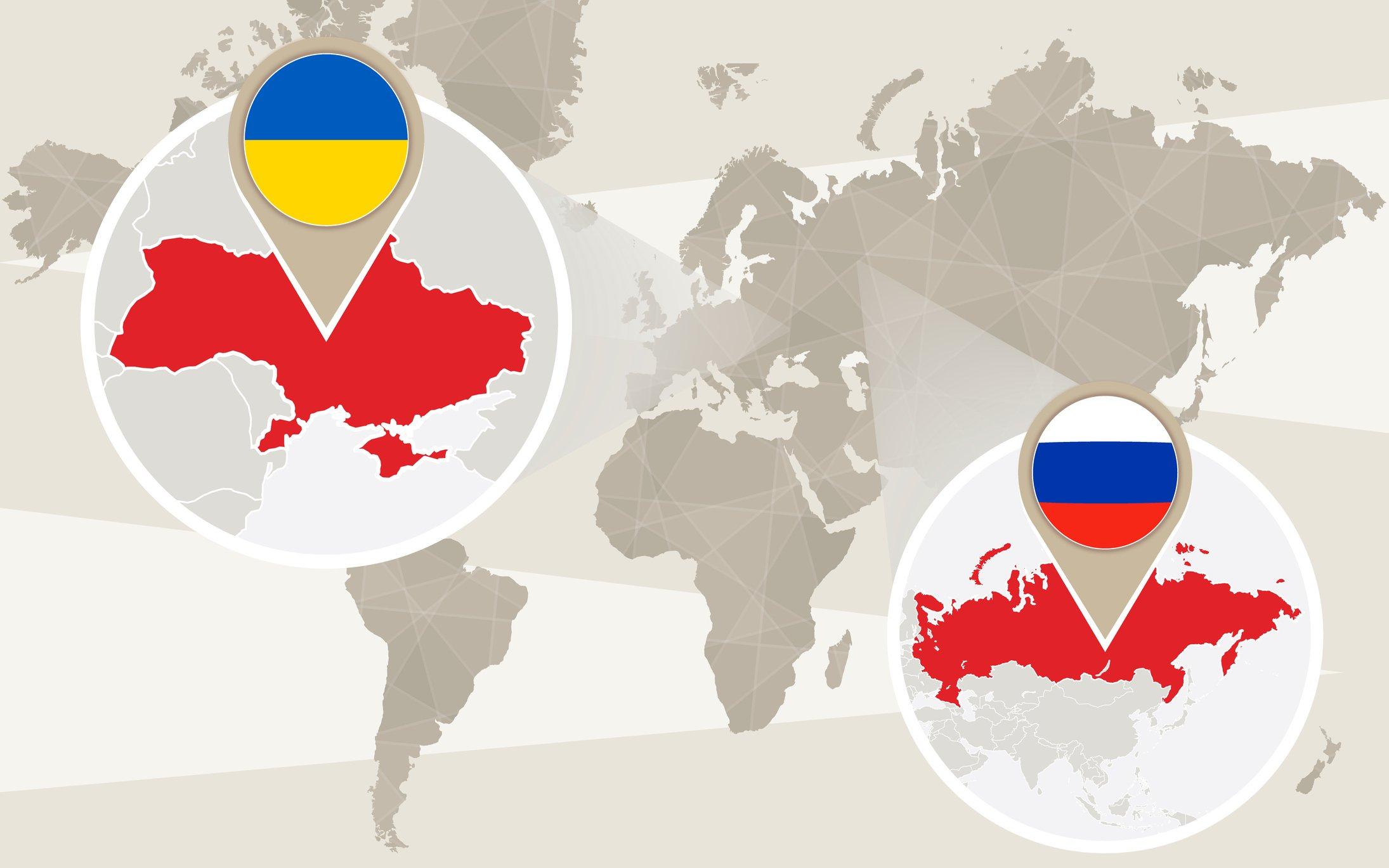 Mapa situando en un mapa global a Rusia y Ucrania.