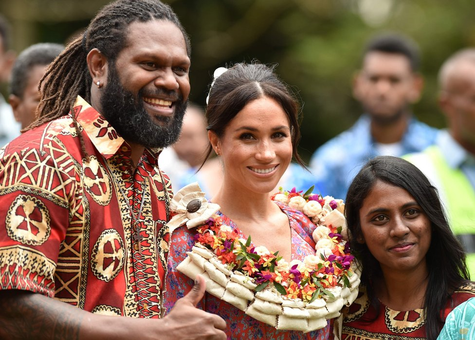 Duchess of Sussex meets people at the University of the South Pacific in Suva on 24 October 2018