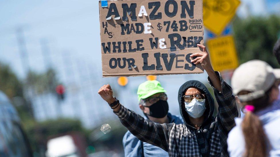 Manifestante de Amazon
