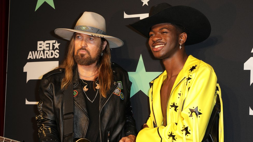 Billy Ray Cyrus, left, and Lil Nas X, right