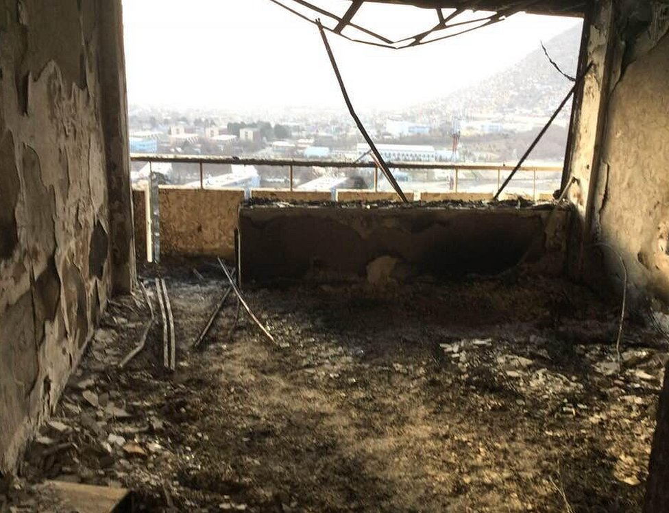 Damage inside the Intercontinental Hotel in Kabul