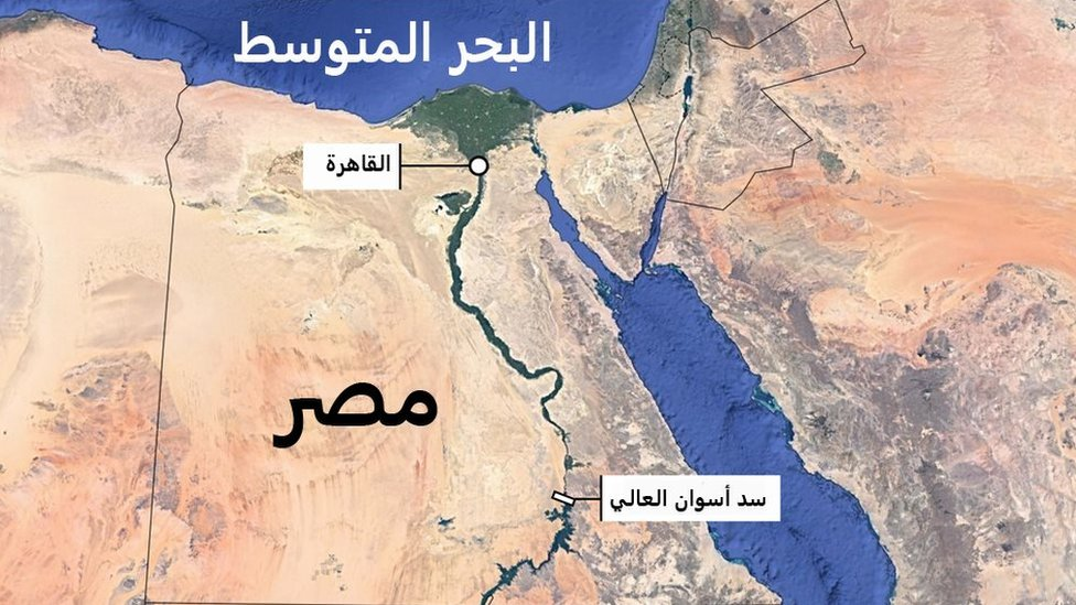 خريطة لموقع السد العالي في مصر