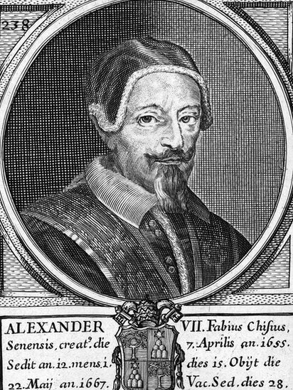 Ink drawing of Pope Alexander VII