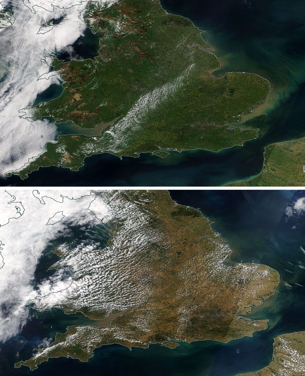 Satellite images of parts of the UK showing the effect the weather has had on the landscape between May and July