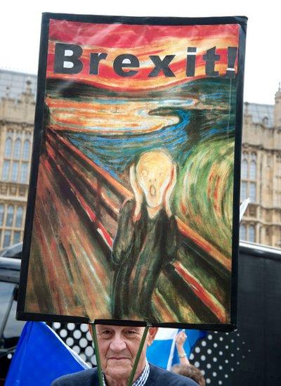 PAncarta con El grito en protesta contra el Brexit.