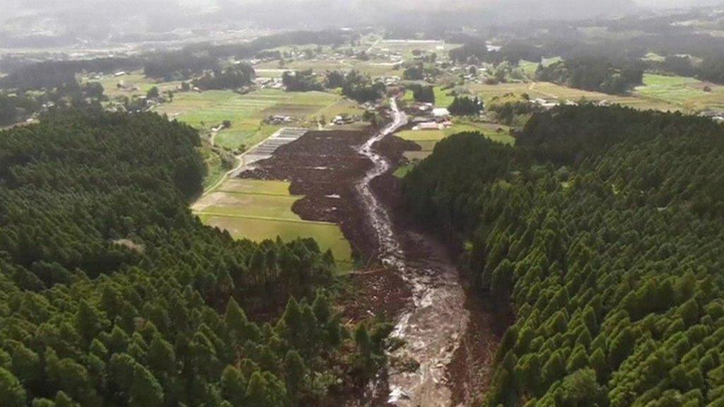 Aerial shot of Japan earthquake damage