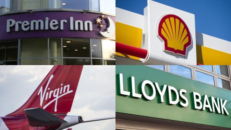 Logos of Virgin Atlantic, Lloyds Bank, Shell and Premier Inn