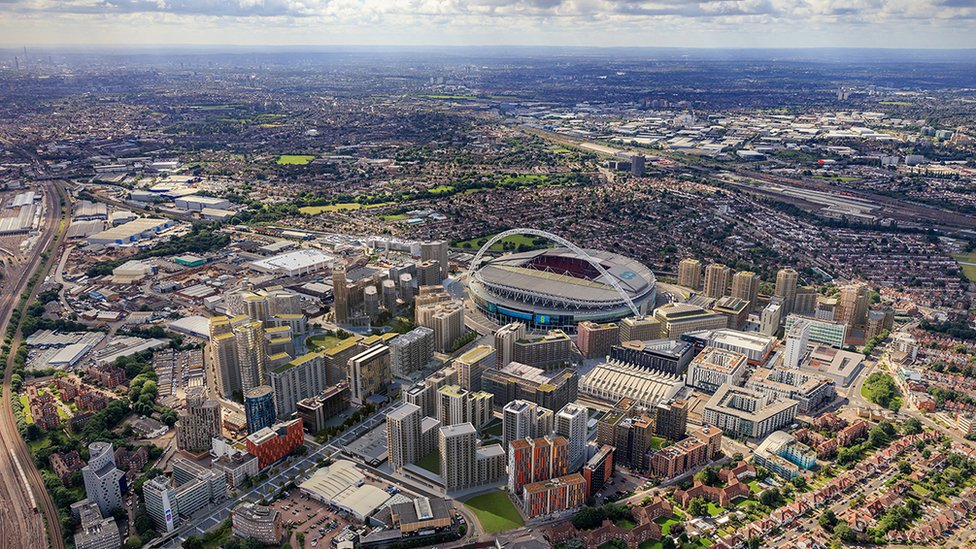 Visualisation of the Quintain development at Wembley Park
