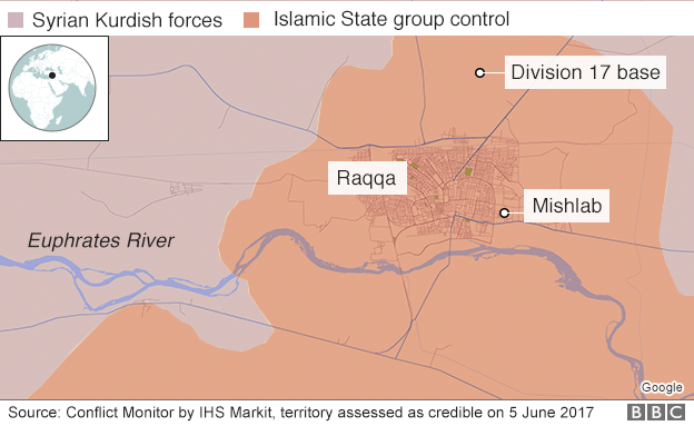 Map showing control around Syrian city of Raqqa (5 June 2017)