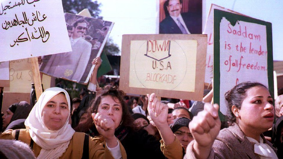 Protests in Baghdad, Iraq in 1992