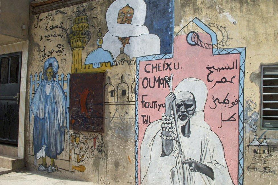 A mural in Dakar commemorates El Hadj Omar Saidou Tall