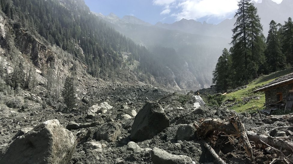 Rubble from landslide near Bondo, Switzerland. 24 Aug 2017