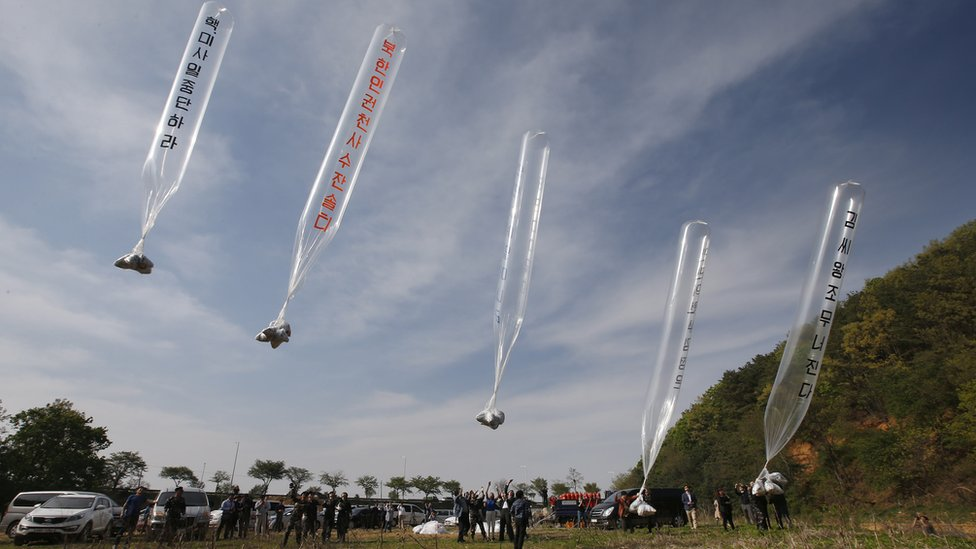 韓國已經呼籲社運人士停止用汽球向朝鮮發放批評朝鮮政權的單張。