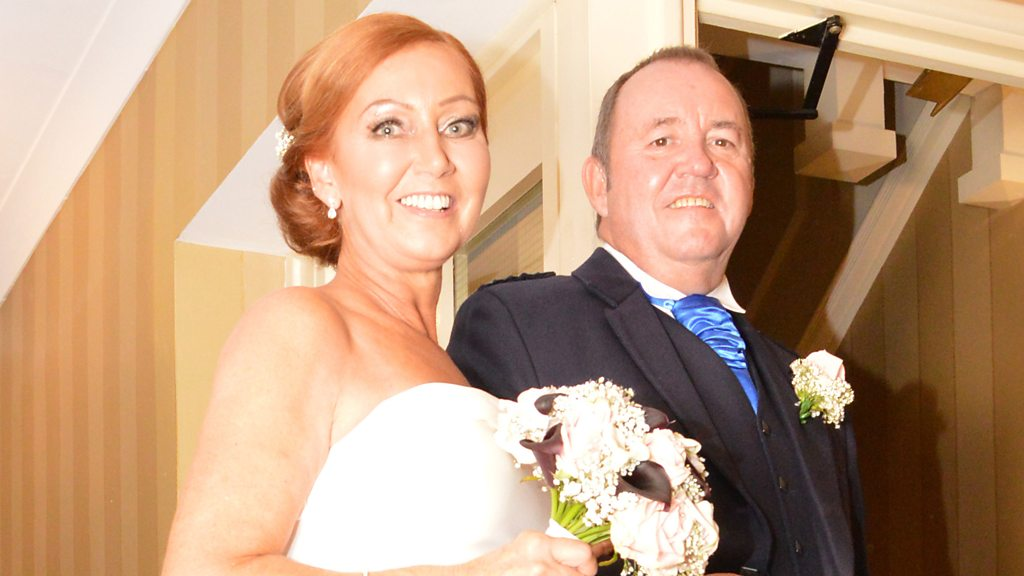 Transplant patient walked down aisle by donor's dad