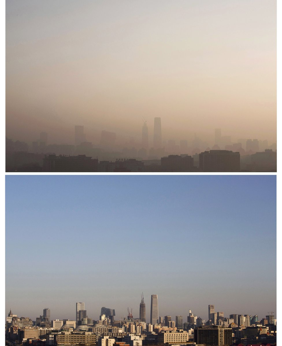 A composite image of the the skyline of the city showing severe smog (top) that lifted by the evening of 10 December