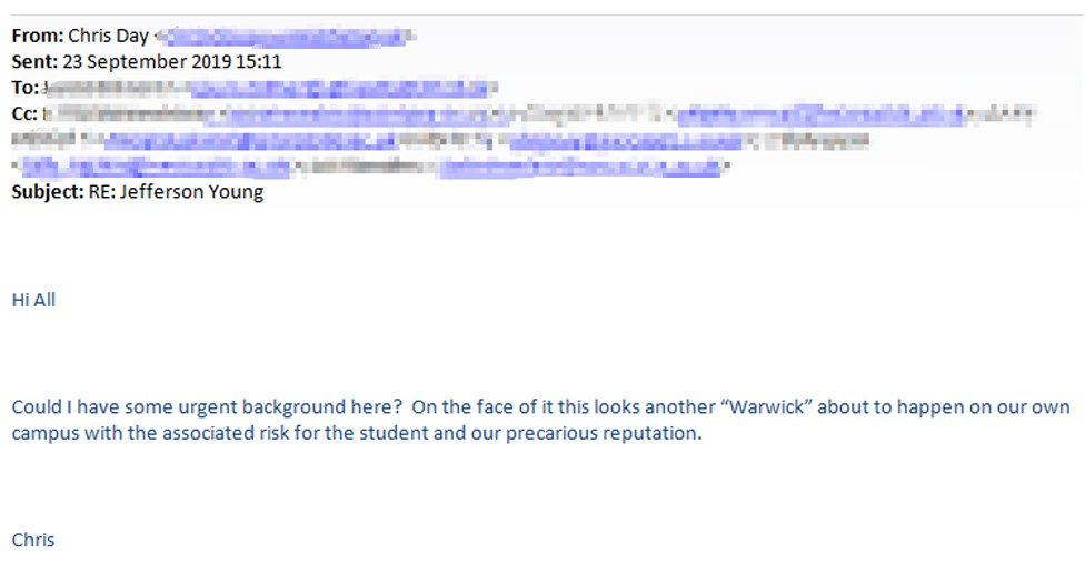 Copy of email sent by Newcastle University vice chancellor Chris Day