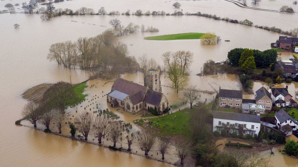 Flood water continues to surround Severn Stoke in Worcestershire, in the aftermath of Storm Dennis