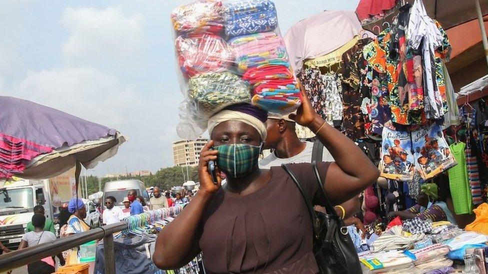 A view from the city of Accra as people wear face masks amid the coronavirus