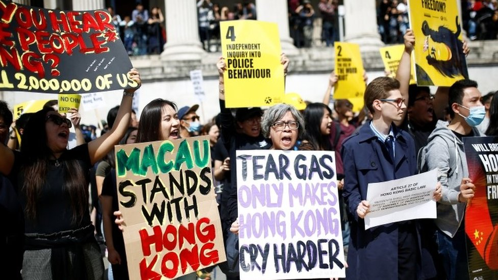 Supporters of the Hong Kong protests demonstrate in central London