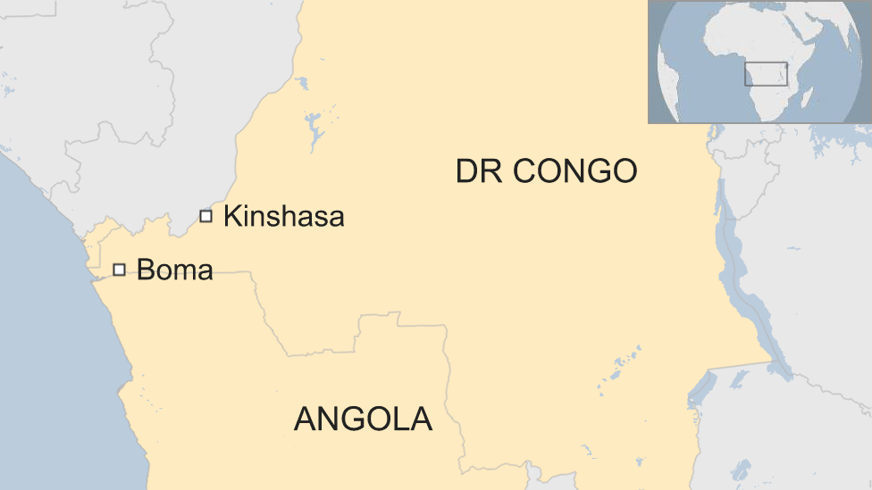 Map showing Boma in south-western DR Congo, on the border with Angola