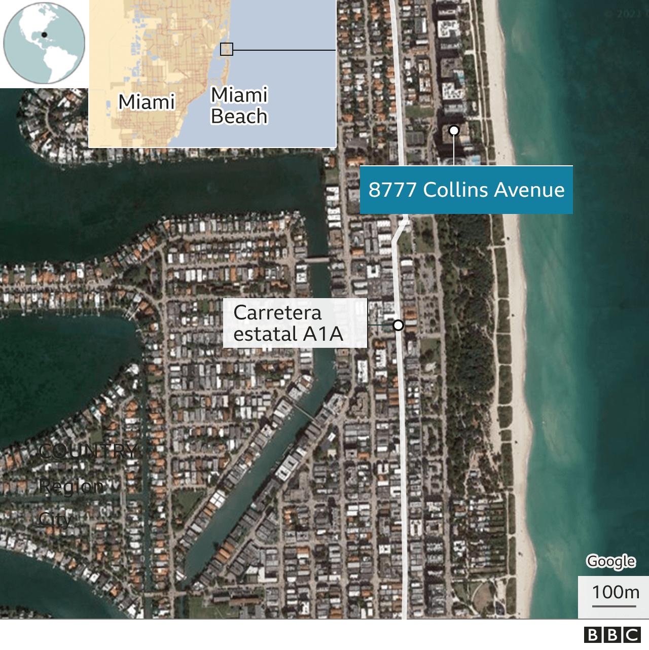 Zona de Miami donde se encuentra el edificio Champlain