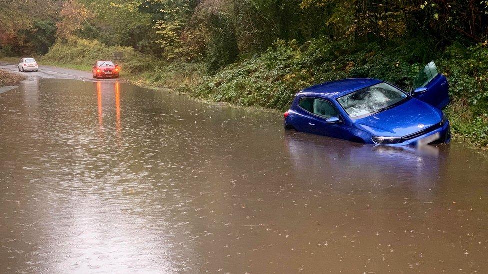 Flooding on Finnebrogue Road near Downpatrick