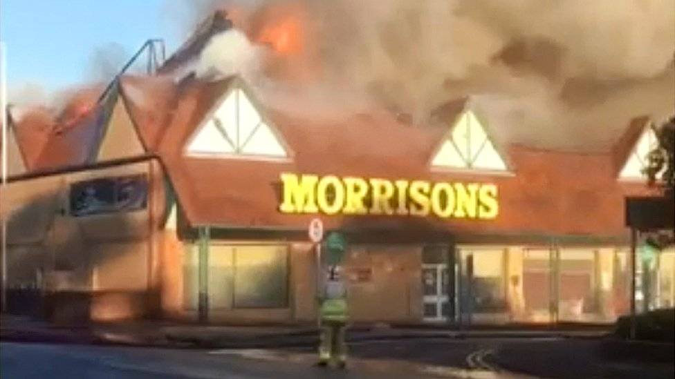 Folkestone Morrisons supermarket catches fire