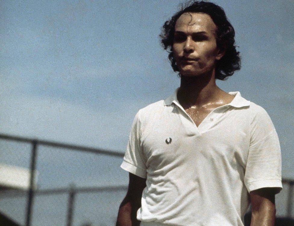 Richard Raskind playing tennis in 1972