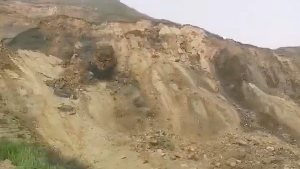 Huge cliff collapse on Norfolk coast caught on camera