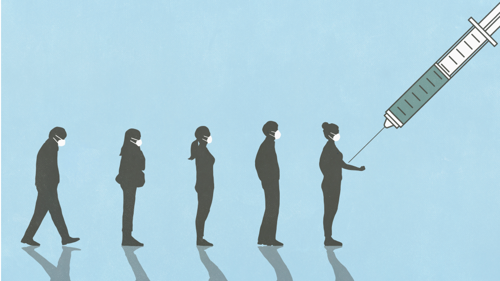 Ilustración de personas haciendo fila para la vacuna