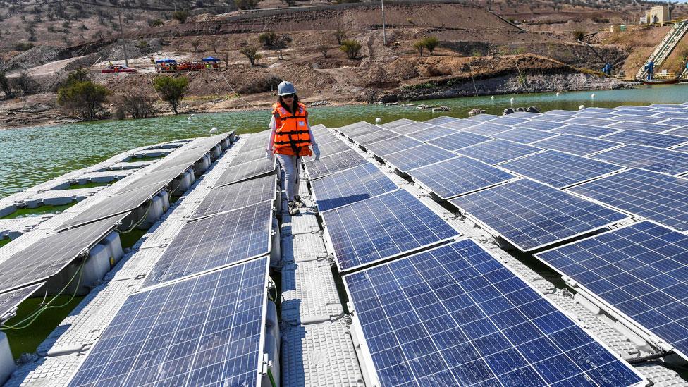 BBC NO USAR. Mujere caminando entre paneles solares
