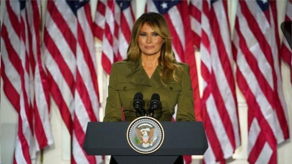 梅拉尼婭·特朗普在白宮玫瑰園發表演說聲援丈夫連任總統