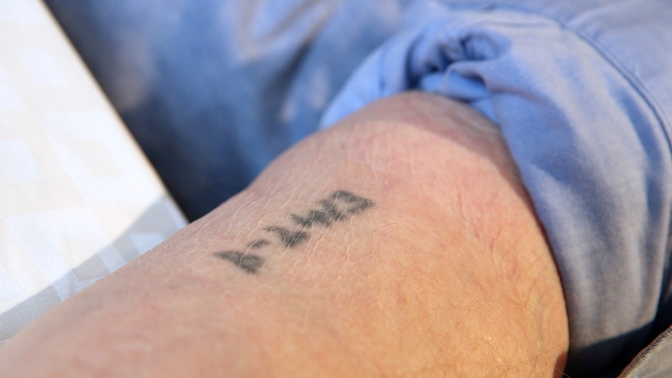 Sam Laskier's forearm showing his concentration camp tattoo - number B-2413