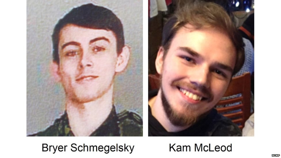 Bryan Schmegelsky (left) and Kam McLeod have been missing since last Friday