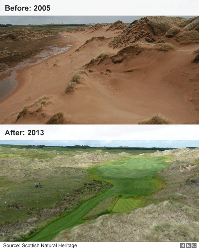 trump golf course before and after